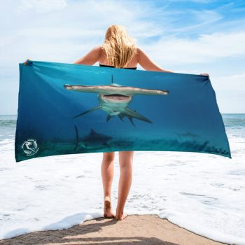 Diver Dena's Adventure Shop-Hammerhead Large Beach/Shower Towel