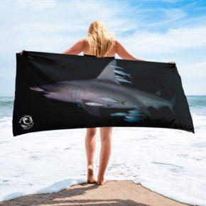 Diver Dena's Adventure Shop-Hammerhead & Friends LARGE Beach/Shower Towel