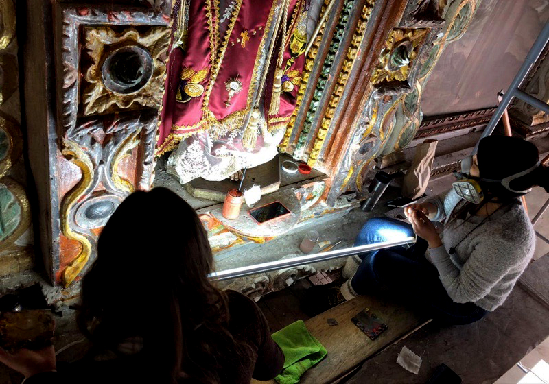 Restauración por sismos revela historia del retablo de San Felipe Ecatepec