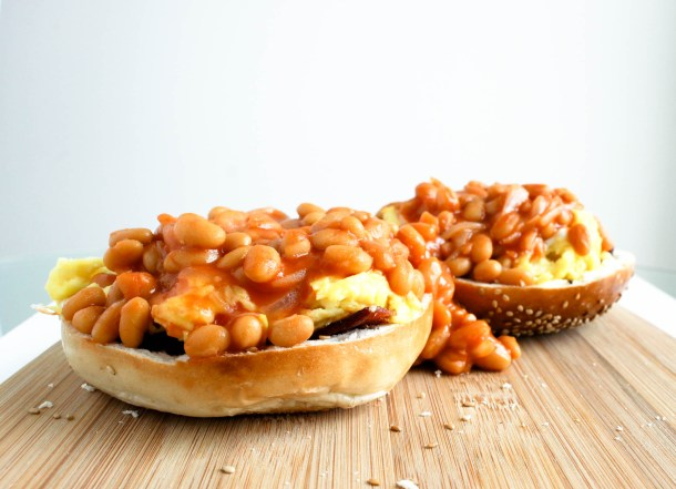 Bacon Eggs Beans in a Bagel Basket