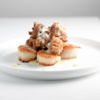 Scallops Lobster and Garlic Sauce