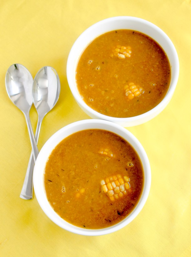 Caribbean Corn Soup by Diverse Dinners