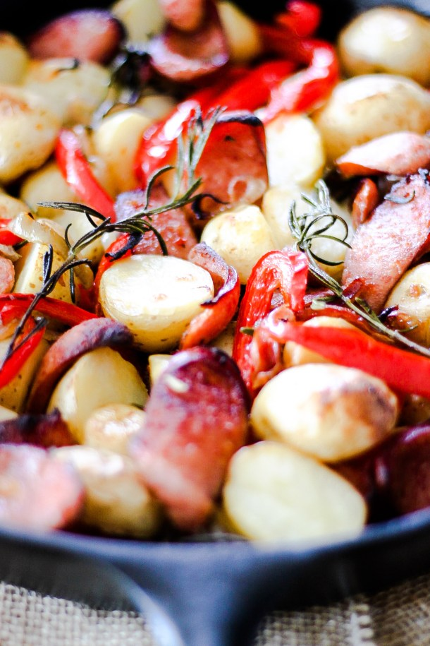 Skillet Baked Sausage Potatoes and Peppers by Diverse Dinners