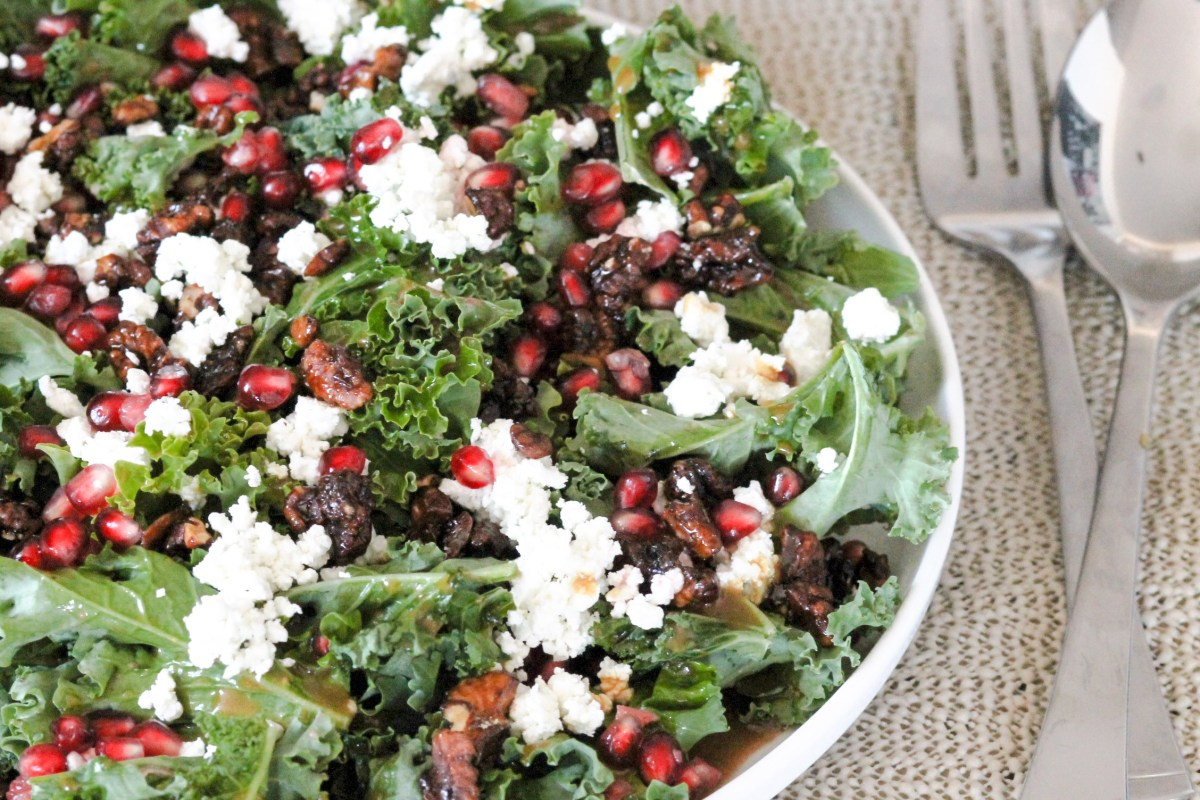Kale Pomegranate Goat Cheese Salad