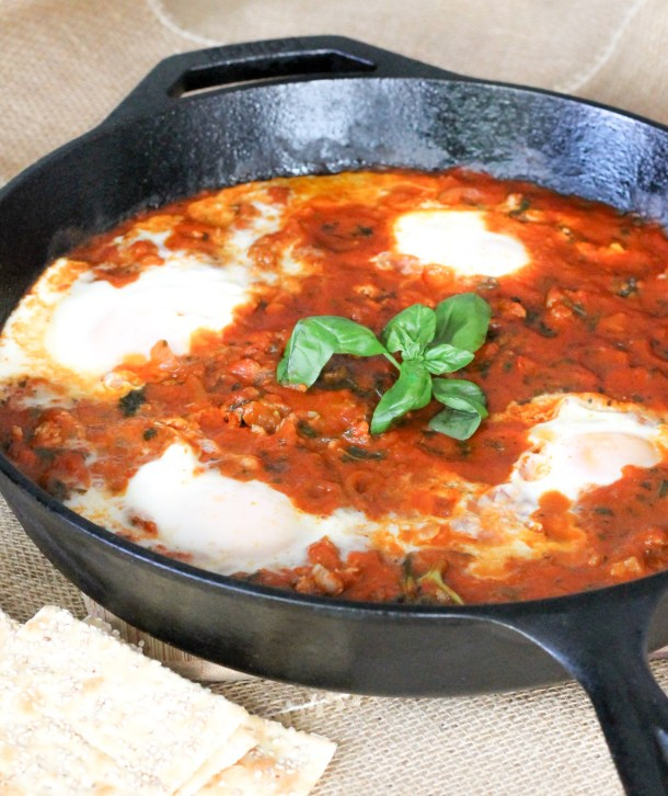 Marinara Poached Eggs with Sausage by Diverse Dinners