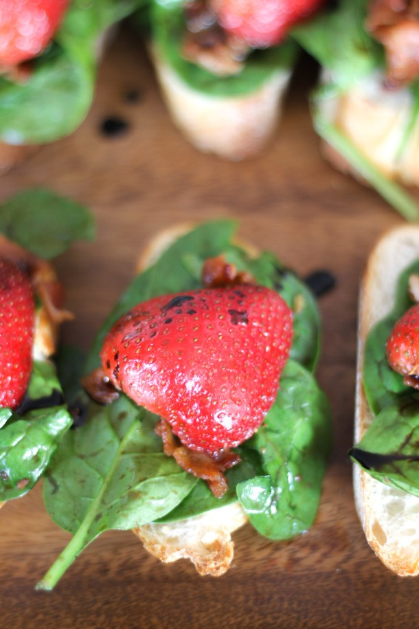 Spinach Bacon Strawberry Crostini by Diverse Dinners