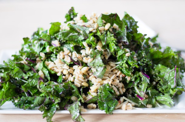 Garlic Kale and Farro Salad by Diverse Dinners