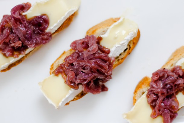 Port Balsamic Red Onion Jam and Brie Canapés by Diverse Dinners