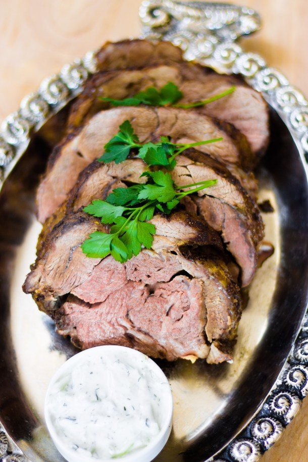 Spiced Lamb Shoulder with Tzatziki Sauce by Diverse Dinners