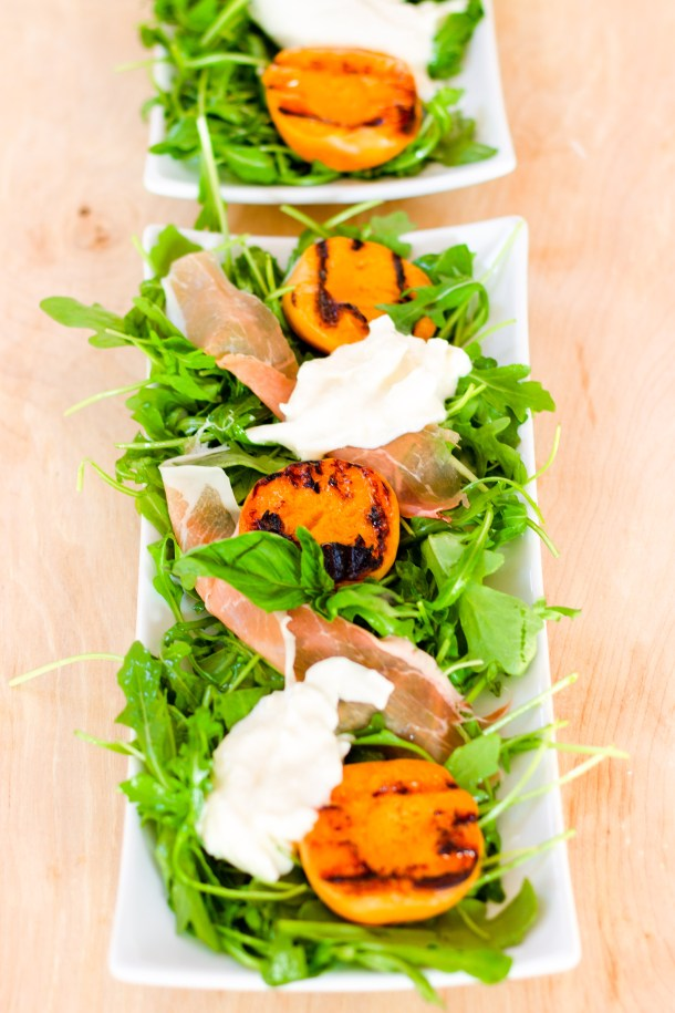 Grilled Apricot and Burrata Salad by Diverse Dinners