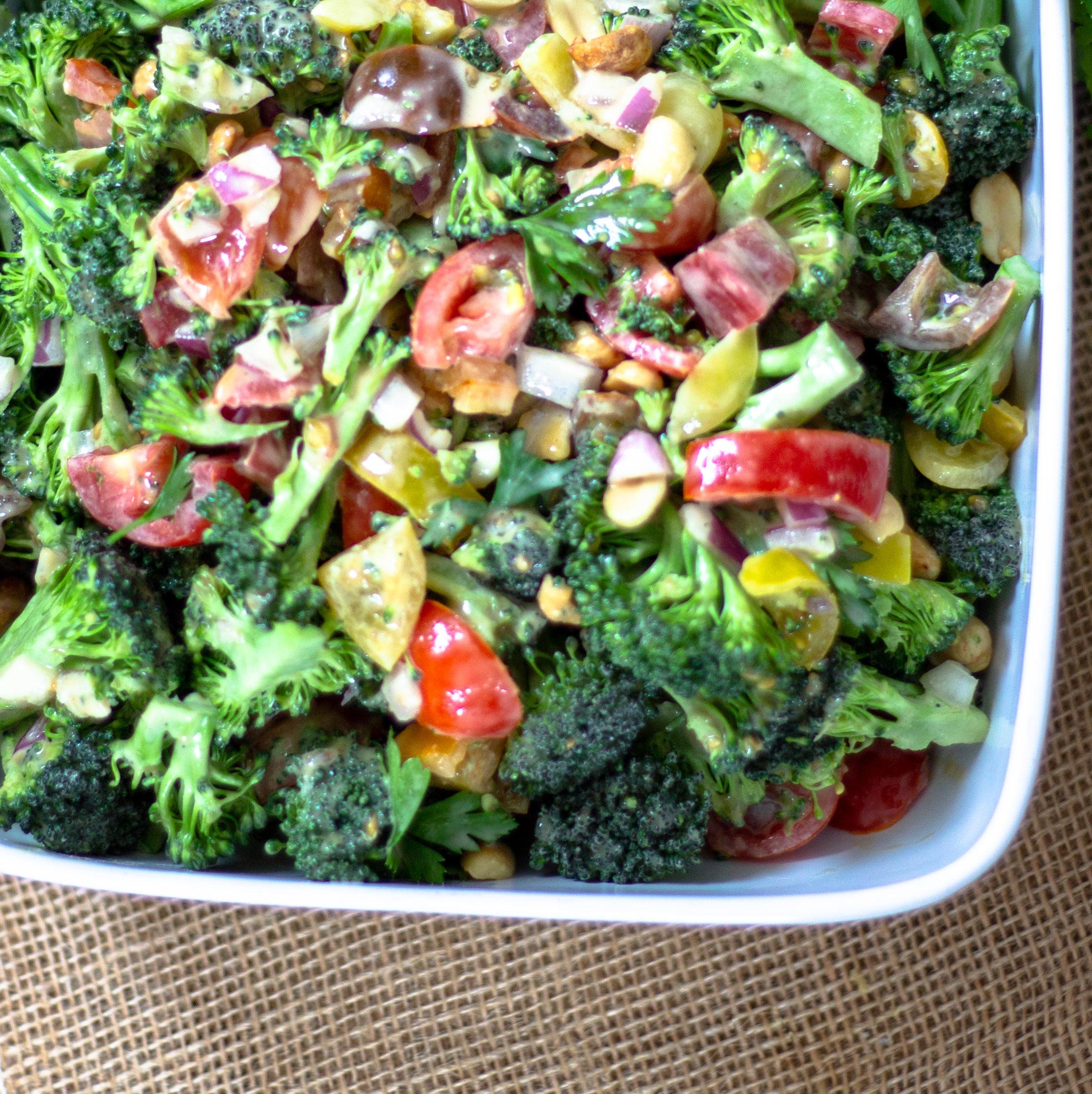 Raw Broccoli Salad With Peanut Dressing Diverse Dinners