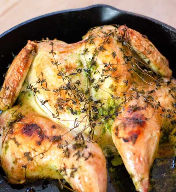 Garlic Herb Spatchcock Chicken by Diverse Dinners