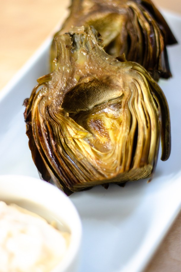 Roasted Lemon Garlic Artichokes by Diverse Dinners
