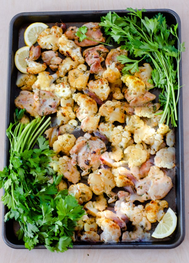 Sheet Pan Lemon Truffle Chicken and Cauliflower by Diverse Dinners