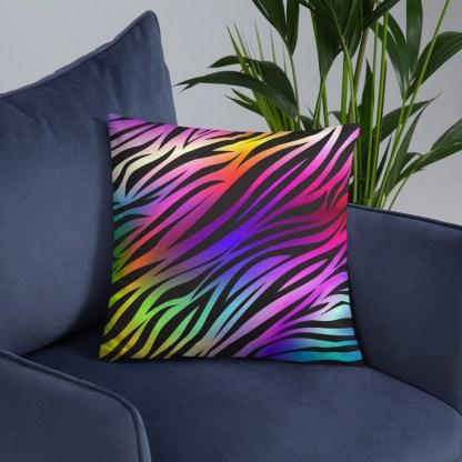 Rare Disease Zebra Rainbow Throw Pillow