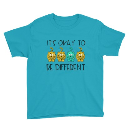 okay to be different kids shirt carribean blue