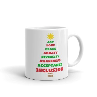 positive vibes christmas tree mug