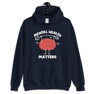 mental health matters hoodie navy