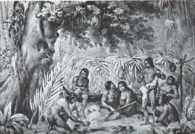 """""""Índios em suas cabanas"""" (Johann Moritz Rugendas/História Hoje)"""