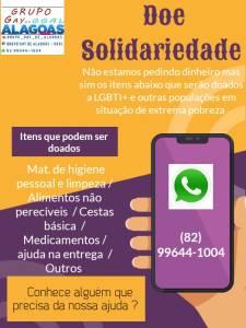 Interessados em ajudar deverão entrar em contato através do whatsapp 82 99644-1004