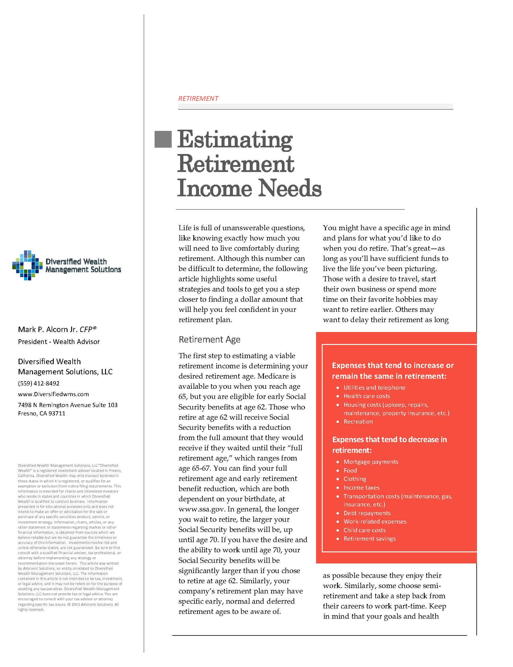 Estimating Retirement Income Needs   Diversified Wealth Management Solutions