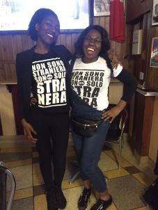 "Student activists: Kai with Stefania - ""We are not FOREIGNERS, we are only BLACKER"" The t-shirt slogan campaign which has gone viral!"