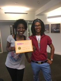 """Awarded """"Creative Contribution to the Student Community"""" by Arts SU, presented by Leroy"""