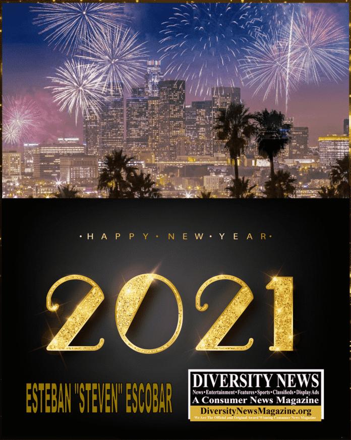 Happy Quarantine New Year 2021 from Esteban Steven Escobar and Diversity News Magazine