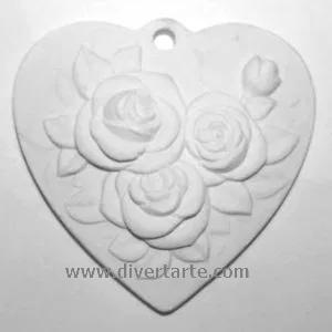 gesso perfumado Coração Rosas