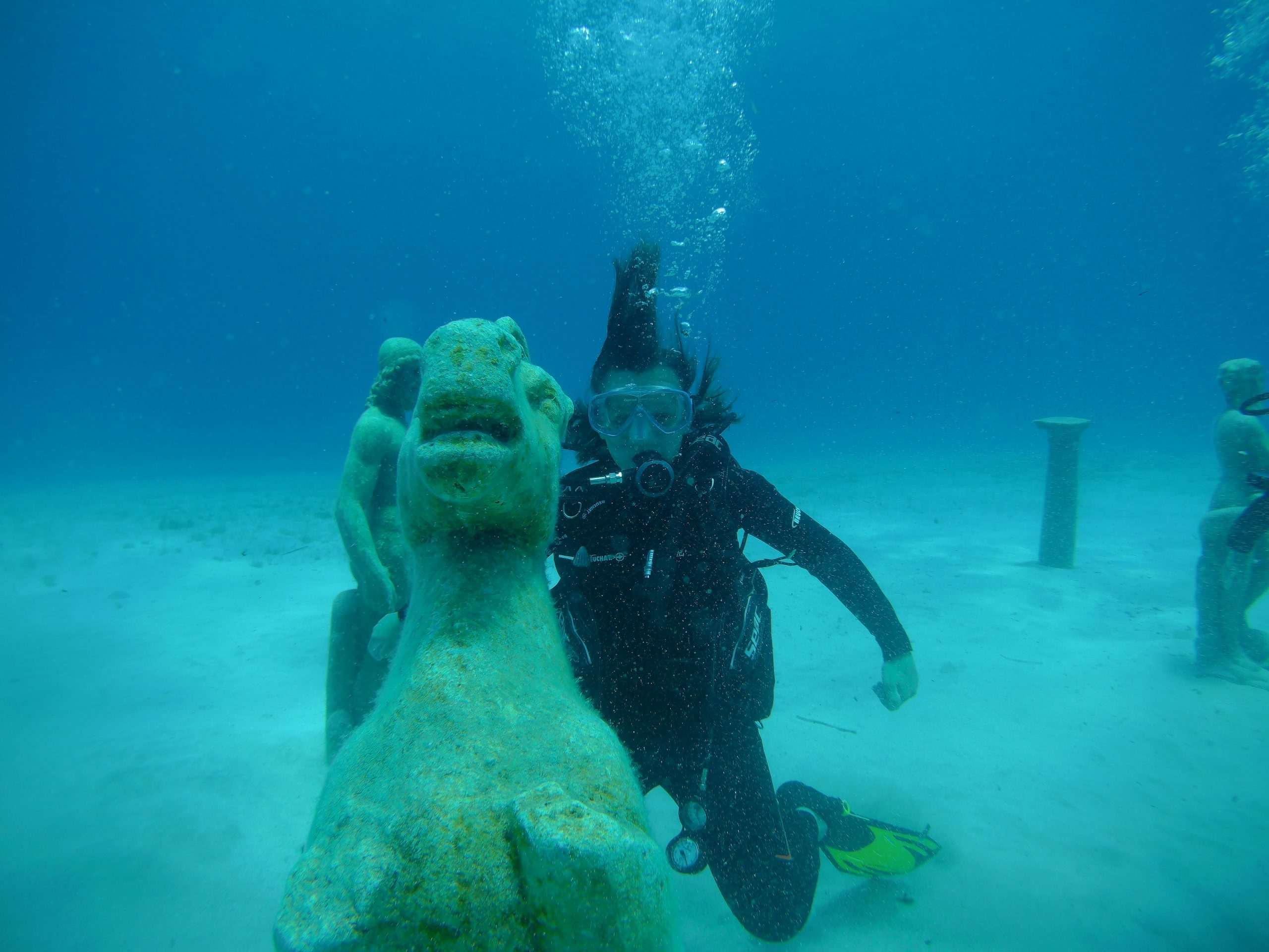 Diver with  Sea horse  Green Bay