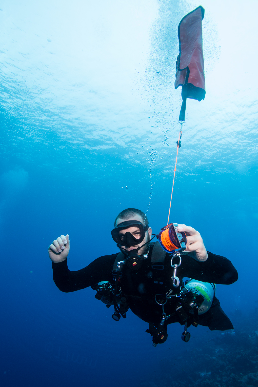 Sidemount Diver with SMB