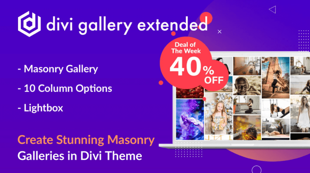 Divi Gallery Extended at a 40% discount for masonry galleries
