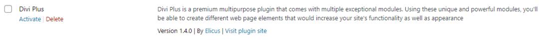 Activate divi plus multipurpose plugin
