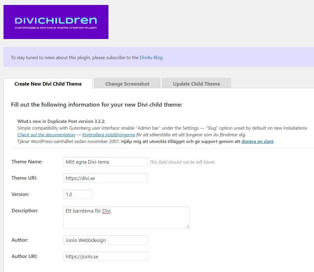 Divi Children – för att enkelt skapa ett barntema (childtheme) 3