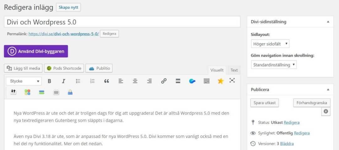Divi och Wordpress 5.0 3