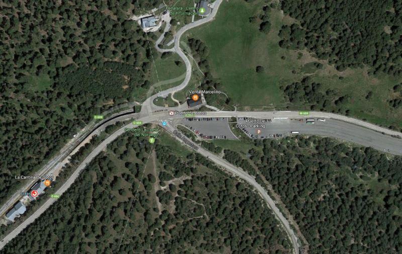 Vista de Google Maps del inicio y salida de la ruta verde