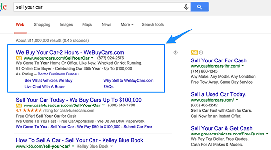 Google Ads Text Ad Example