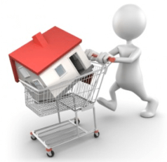Person buying a home in a shopping cart