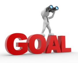 "Man, person with a binocular on top of a word ""goal""."