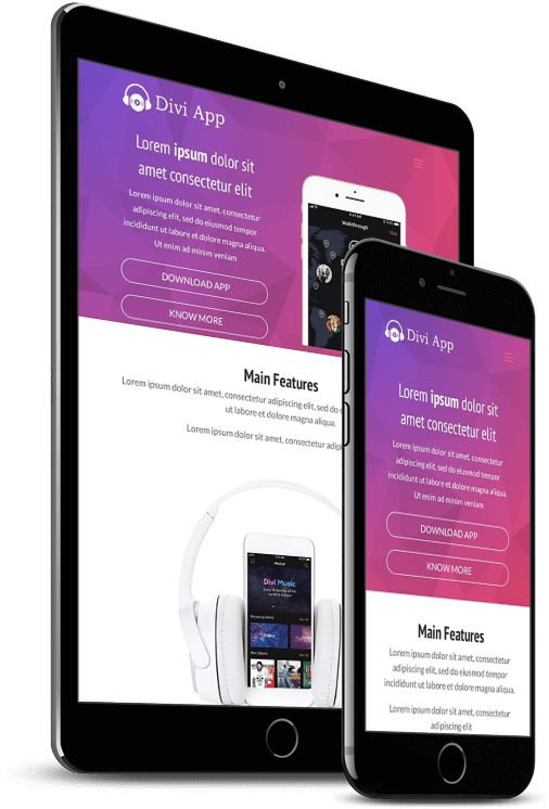 Divi App website layout