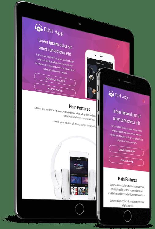 Divi App website layout