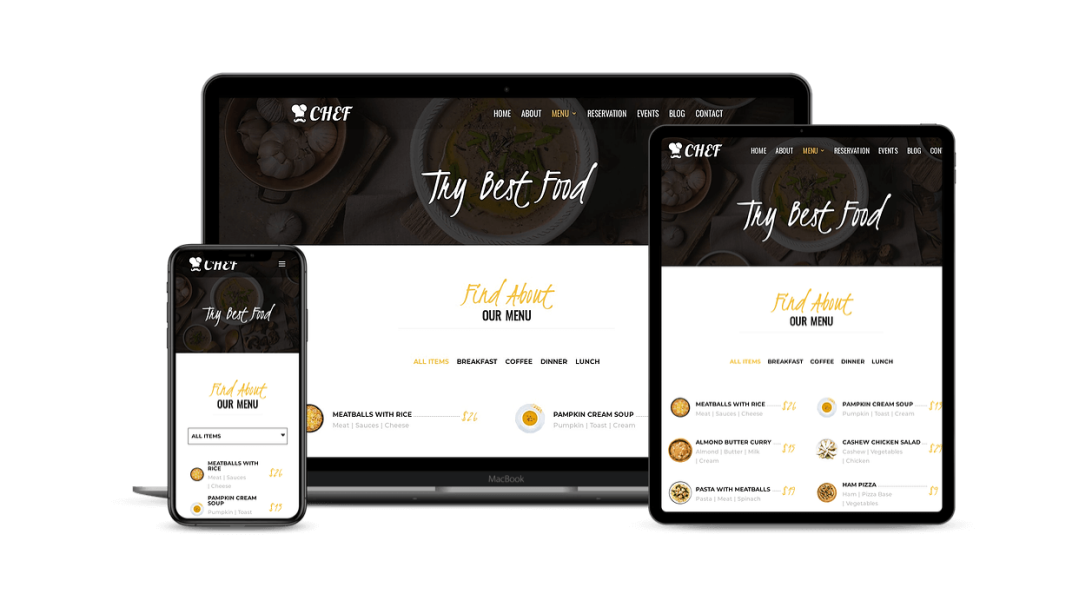 Divi restaurant website child theme