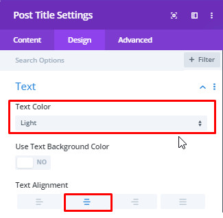 Post Title Text Settings
