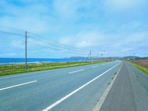 国道238号から宗谷丘陵を望む