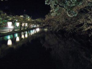 弘前城 夜の外堀