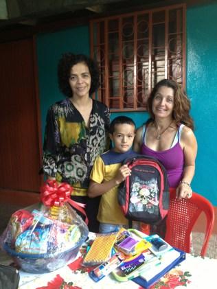 her grandson gets a backpack