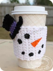 Snowman mug cozy by DivineDebris.com