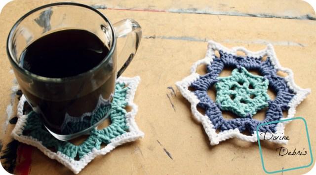 Snowflake Coasters Crochet Pattern by DivineDebris.com