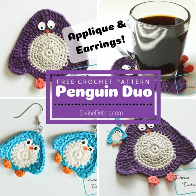 Penguin Duo (applique and earrings) free crochet patterns by DivineDebris.com