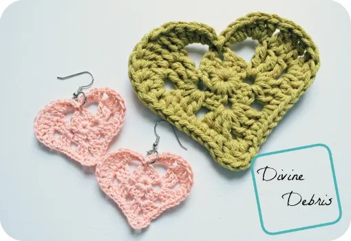 Kylie Hearts free crochet heart applique and earrings patterns from DivineDebris.com